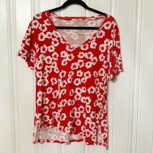 Philosophy Red White Floral Short Sleeve Top XL